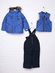 Детский зимний комбинезон для мальчика тинсулейт, внутри флис, натуральный мех Donilo 2243 | на рост 86-98р.