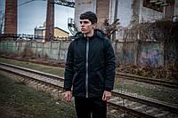 Куртка парка мужская зимняя теплая качественная черная Champ + бафф флисовый в подарок