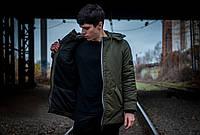 Куртка парка мужская зимняя теплая качественная оливковая Champ + бафф флисовый в подарок