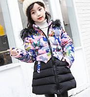 Куртка для девочки Бабочки. 110-160. Сирень