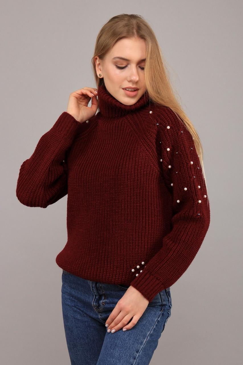 Тёплый женский вязаный свитер с высоким воротом украшенный бусинками с 42 по 48 размер