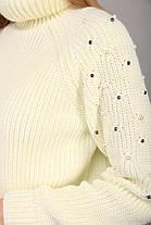 Тёплый женский вязаный свитер с высоким воротом украшенный бусинками с 42 по 48 размер, фото 2