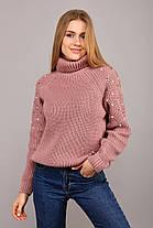 Тёплый женский вязаный свитер с высоким воротом украшенный бусинками с 42 по 48 размер, фото 3