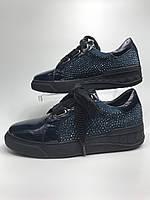 Кеди - кріпери, жіночі шкіряні туфлі сині зі стразами. Кеды-криперы, женские кожаные туфли на шнурках синие с