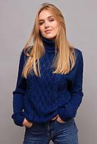 Вязанный женский свитер с высоким воротом украшенный бусинками с 42 по 48 размер, фото 3