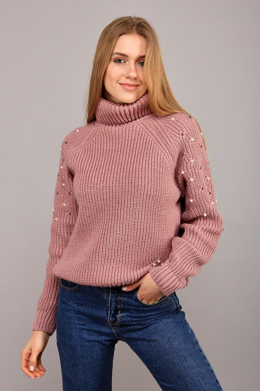 Вязанный женский свитер с высоким воротом украшенный бусинками с 42 по 48 размер
