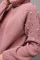 Вязанный женский свитер с высоким воротом украшенный бусинками с 42 по 48 размер, фото 2