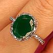 Серебряное кольцо с зеленым кварцем, фото 7