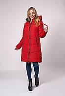 Зимнее женское молодежное пальто. Код К-151-37-20. Цвет красный.
