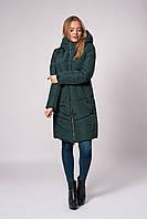 Зимнее женское молодежное пальто. Код К-151-37-20. Цвет темно зеленый.