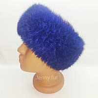 Повязка из натурального меха кролика/повязка на голову/теплая повязка/ меховая повязочка/электрик цвет