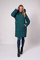 Зимнее женское молодежное пальто. Код К-151-37-20. Цвет изумруд.