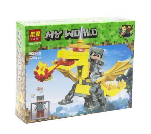 "Конструктор ""Minecraft: Стив и желтый дракон"" аналог Лего Майнкрафт, 62 детали  sco"