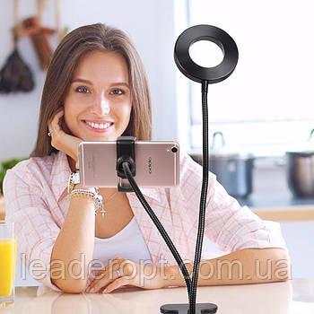 [ОПТ] Гнучкий тримач для телефону на прищіпці з LED підсвічуванням Professional Live Stream