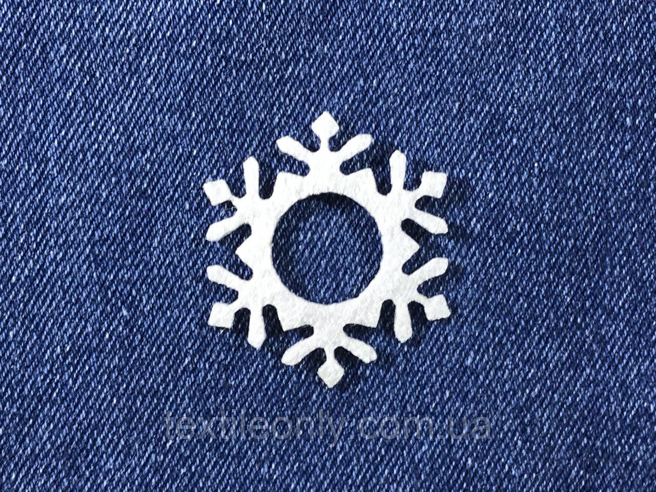 Декор Снежинка цвет белый клеевая 39х45 мм