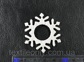Декор Снежинка цвет белый клеевая 39х45 мм, фото 2