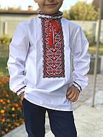 Класична вишиванка для хлопчика з червоно-чорною вишивкою