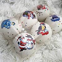 Новорічна ялинкова іграшка кульки набір 6 шт 8 см