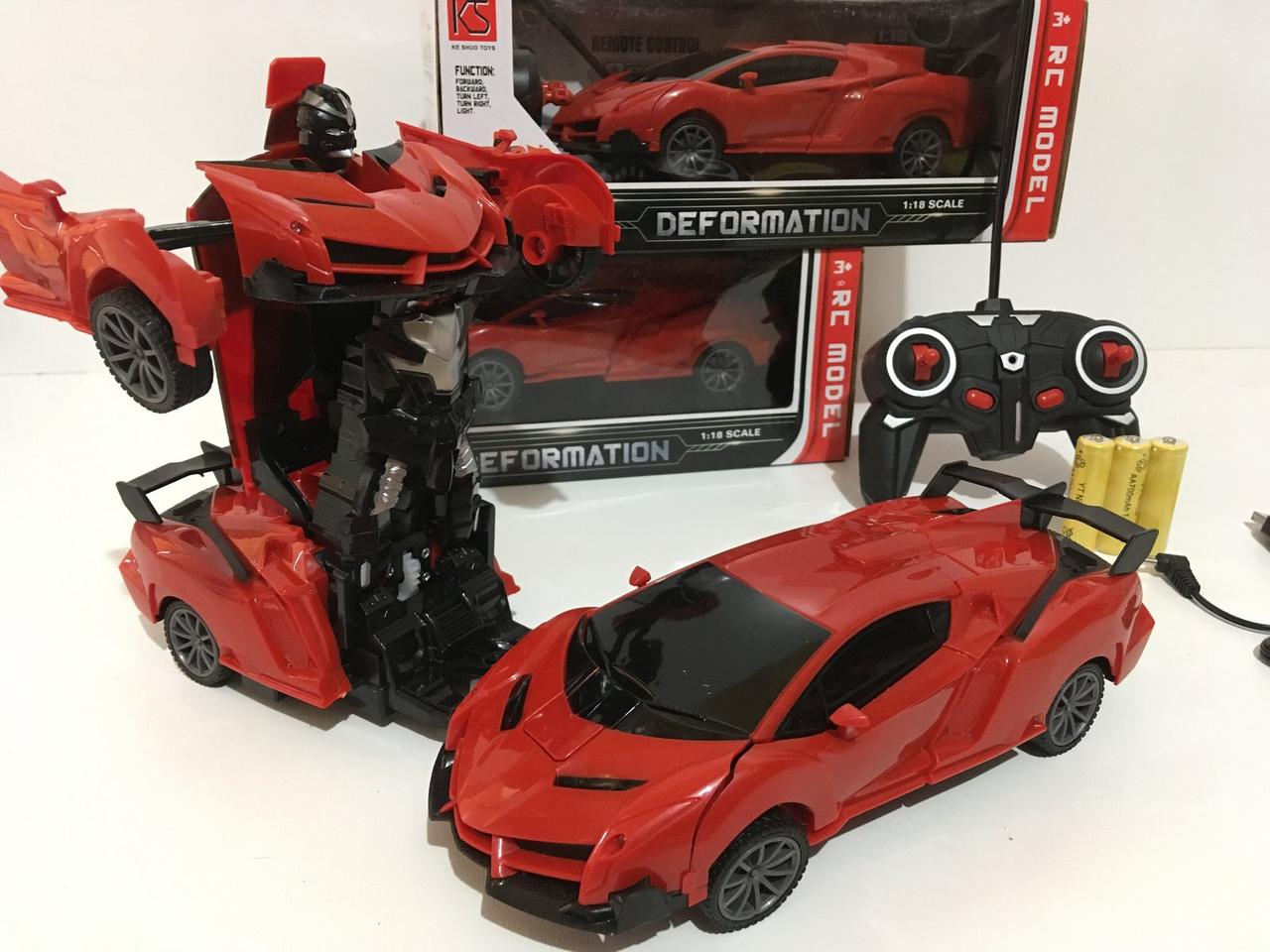 Машинка Трансформер Lamborghini Robot Car Size  18 КРАСНАЯ ART-3372/2416  (48 шт/ящ)