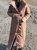 Женское тёплое пальто - пуховик из плащевки миди длина