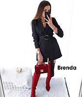 Стильное платье-пиджак из креп костюмки с поясом, под запах, длинный рукав (42-48)