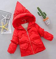 Зимняя красная куртка для девочки Оборки