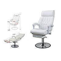 Педикюрное кресло на гидравлике с выдвижной цельной подножкой и регулируемой спинкой