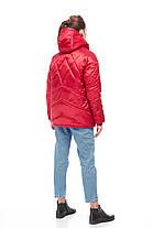 Зимний стильный короткий Молодежный дутый пуховик сатин размер 42-50, фото 3