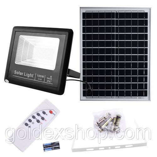 Прожектор 9100 100W SMD, IP67, солнечная батарея, пульт ДУ, встроенный аккумулятор, таймер, датчик света