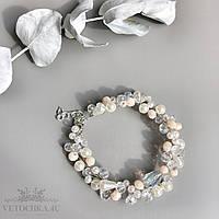 Свадебный браслет для невесты с бусин ручной работы бежевый
