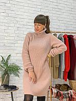 Платье-туника теплое свободное с воротником гольф вязка разные цвета Smm2755, фото 1