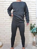 Нательное белье мужское серое на флисе