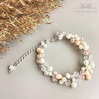 Свадебный браслет для невесты с бусин ручной работы персиковый