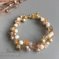 Свадебный браслет для невесты с бусин ручной работы золотистый
