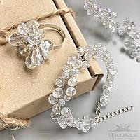 Свадебный браслет для невесты с бусин ручной работы хрустальный