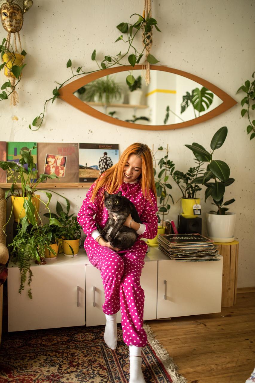 Пижама флисовая с сердечками женская малиновая S-M