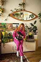 Пижама флисовая с сердечками женская малиновая S-M, фото 1