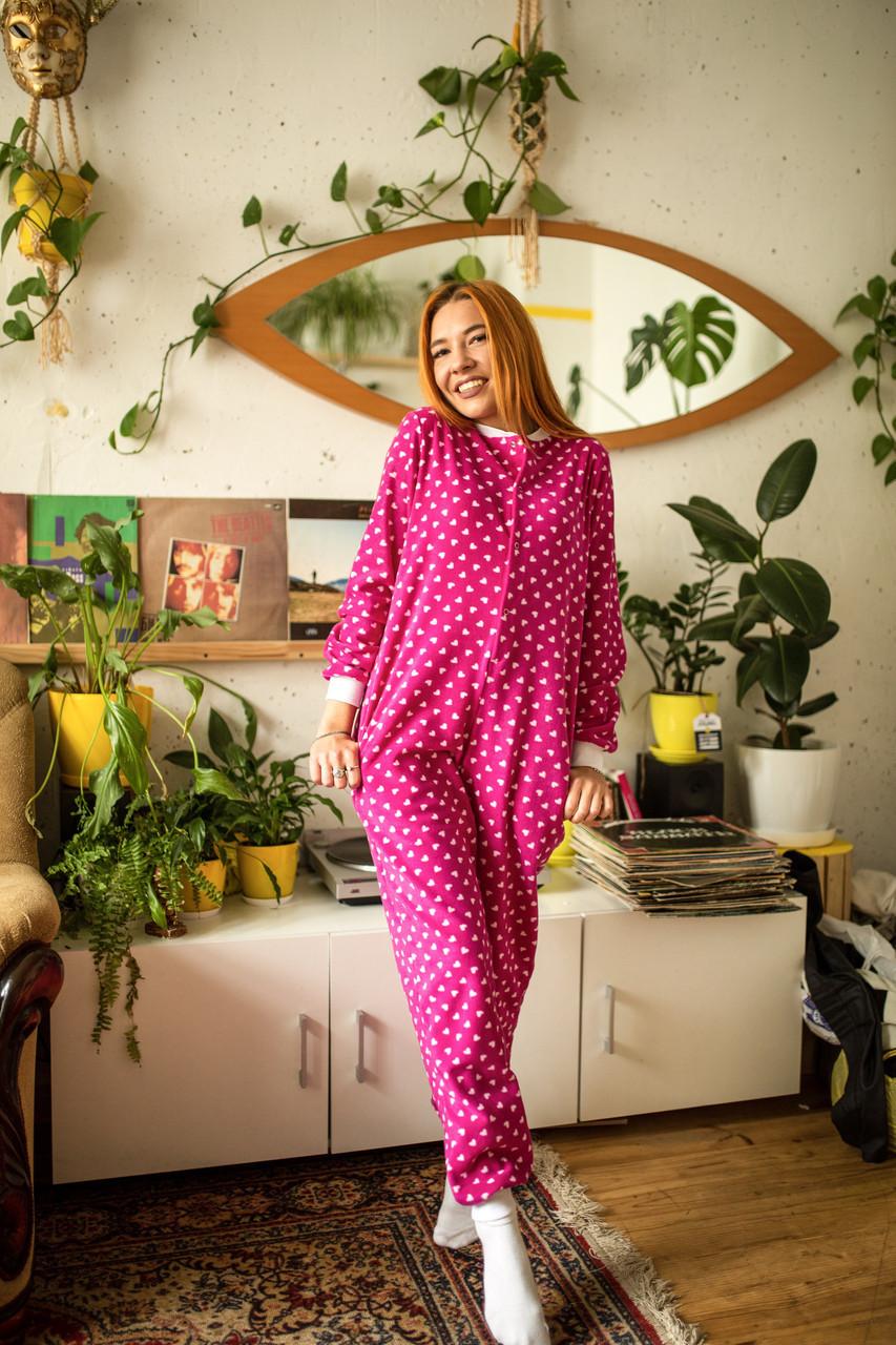 Пижама флисовая с сердечками женская малиновая XXL-XXXL