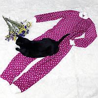 Детская флисовая пижама малиновая 140