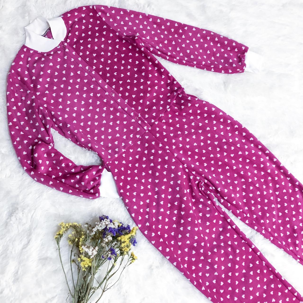 Детская флисовая пижама малиновая 134
