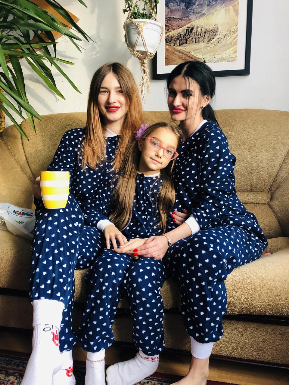 Детская флисовая пижама с сердечками синяя 140
