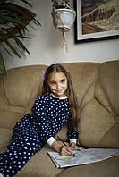 Детская флисовая пижама с сердечками синяя 128, фото 1