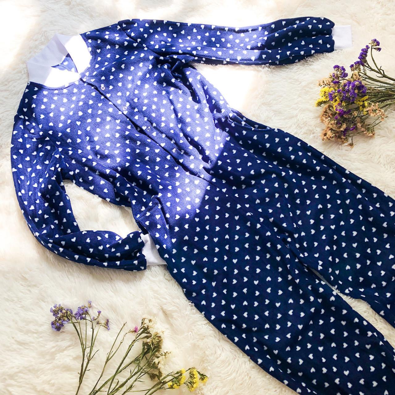 Детская флисовая пижама с сердечками синяя 104