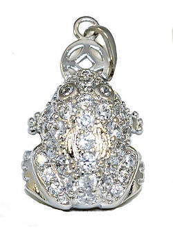 "Кулон ""жабка с монетой"" фирмы Xuping. Цвет: серебряный. Камни:белый циркон.Высота кулона: 2,7 см. Ширина:15 мм"