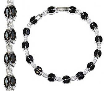 Браслет женский ХР. Цвет: серебряный. Камни: белый и чёрный циркон. Длина 17,5-19,5 см.Ширина 6 мм