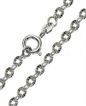 Цепочка рифлёная фирмы Xuping, цвет серебряный. Плетение: Якорное. Длина: 40 см. Ширина: 2 мм