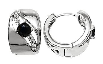 Серьги фирмы Xuping.Цвет: серебряный. Камни: чёрный и белый циркон . Высота серьги : 1,5 см. Ширина: 10 мм.