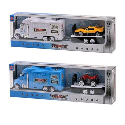 Трейлер 996-11-3 инер-й с прицепом 22см транспорт 2 вида в кор-ке 25-8-4см