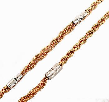 Цепочка фирмы Xuping, цвет: позолота + родий. Длинна регулируется 48-53 см, ширина 4 мм.