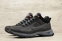 Мужские зимние ботинки на меху в стиле Nike, кожа, шерсть, полиуретан, черные *** 40 (26 см)
